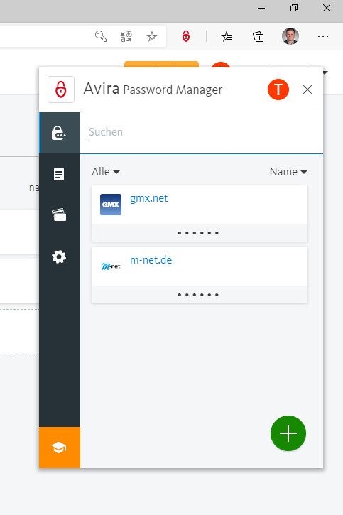 Screenshot 1 - Avira Password Manager für Microsoft Edge