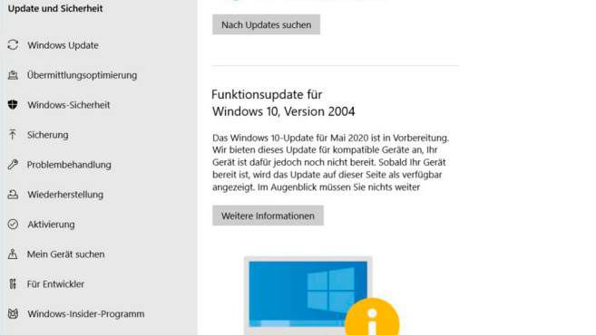 Meldung zu Windows 10 2004: Update noch nicht bereit©Microsoft