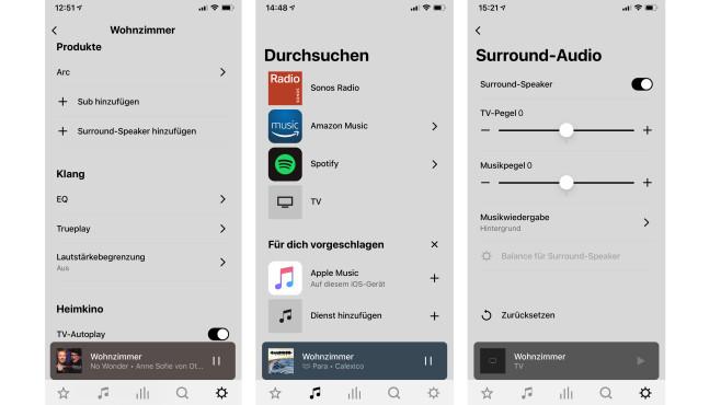 Die Einrichtung der Sonos Arc erfolgt über die neue Sonos-App, damit können auch Musikauswahl und Klangeinstellungen erfolgen.©COMPUTER BILD