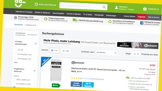 Rabatt-Aktion bei AO: Bauknecht-Geschirrspüler©Screenshot www.ao.de