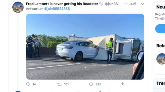 Tesla Model 3: Unfall©Twitter.com