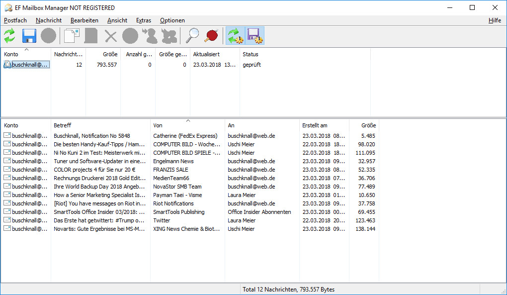 Screenshot 1 - EF Mailbox Manager