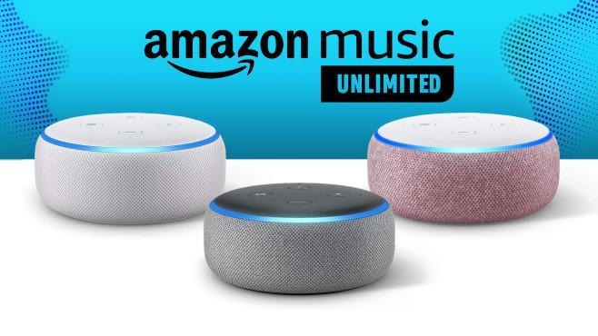 Amazon Music Unlimited: Für 2 Monate anmelden, Echo Dot für 9,99 Euro sichern Den Echo Dot gibt es in Anthrazit, Hellgrau, Sandstein und Lila.©Amazon