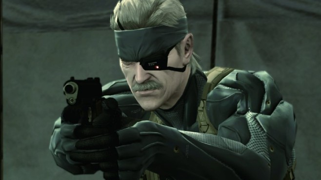 Actionspiel Metal Gear Solid 4: Solid Snake mit Waffe
