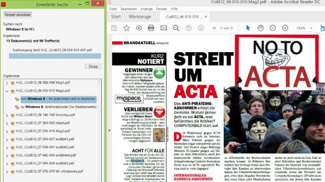 Adobe Acrobat Reader DC: Mehrere PDF-Dateien gleichzeitig durchsuchen Der Adobe Acrobat Reader DC bietet eine zwar manchmal zeitintensive, aber effiziente Suchfunktion.©COMPUTER BILD