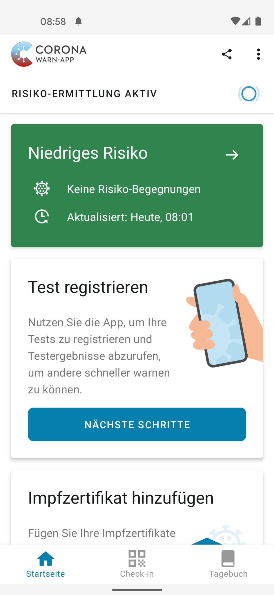 Screenshot 1 - Corona-Warn-App (Android-App)