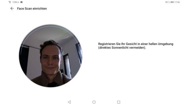 Screenshot von der Einrichtung der Gesichtserkennung auf dem Huawei MatePad 10.4©COMPUTER BILD