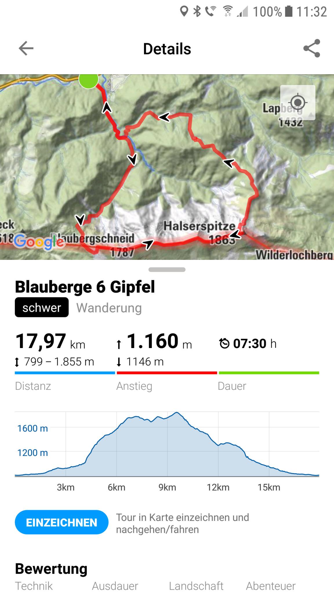Screenshot 1 - Bergfex Touren & GPS-Tracking: Navi zum Wandern, Radfahren & Laufen (Android-App)