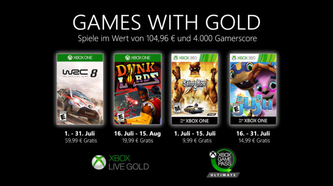 Games with Gold im Juli 2020 © Microsoft