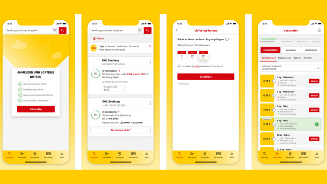 iOS-Version der DHL-Paket-App©Deutsche Post