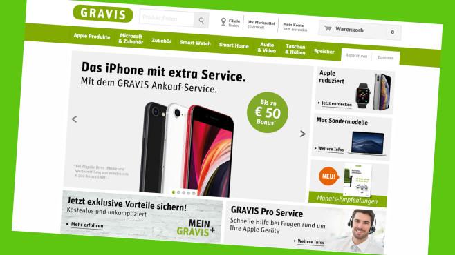 Online-Gutschein bei Gravis einlsen©Screenshot www.gravis.de