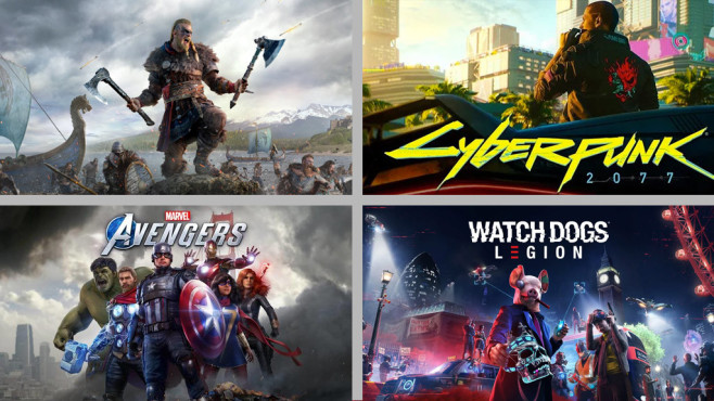 Top-Games 2020 © Ubisoft / CD Projekt / Square Enix