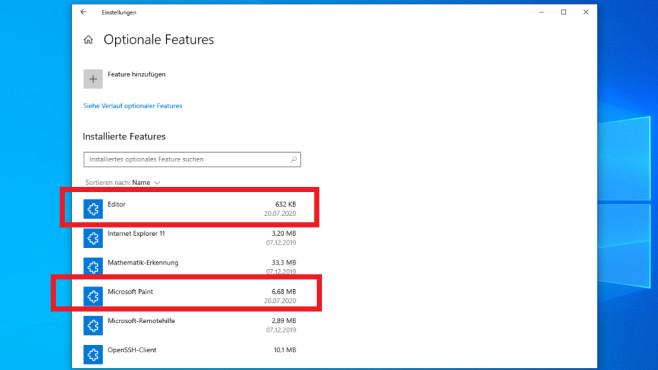 Windows 10 2004: Editor, Paint und WordPad deinstallieren – so räumen Sie auf©COMPUTER BILD