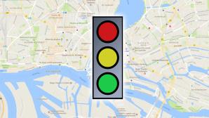 Ampel-Symbol vor einer Google-Maps-Karte©Google