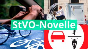 Auto- und Radfahrer hinter dem Wort StVO-Novelle©BMVI
