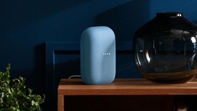 Der Nest-Lautsprecher steht auf einem Regal neben einer Vase.©Google LLC