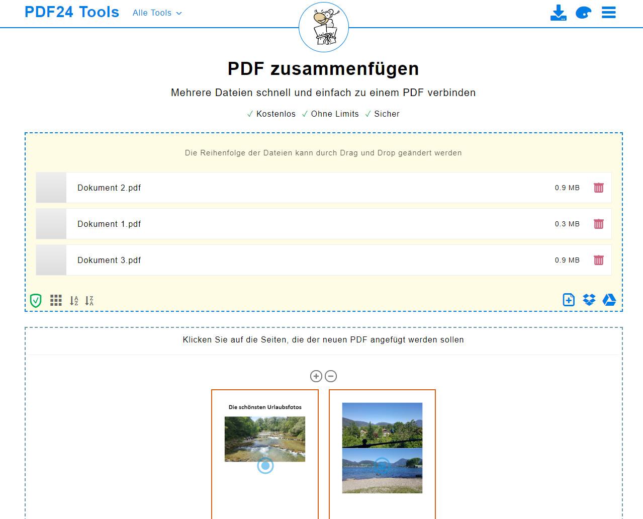 Screenshot 1 - Mehrere PDFs zu einem PDF zusammenführen