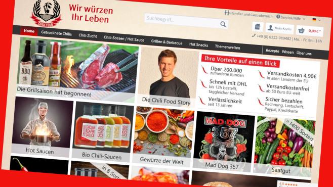 Online-Gutschein im Chili-Food-Shop auf alles©Screenshot www.chili-shop24.de