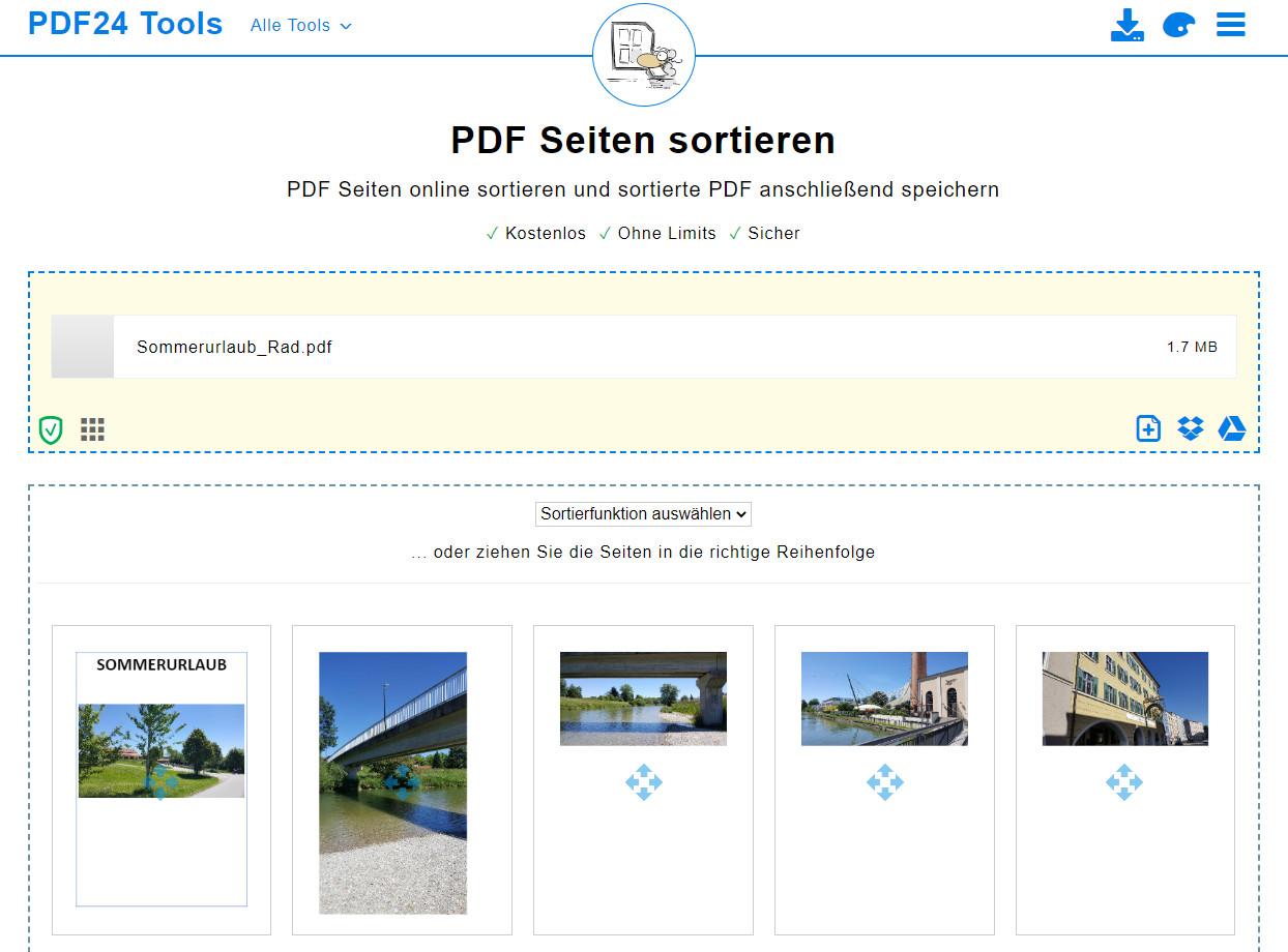 Screenshot 1 - PDF-Seiten sortieren