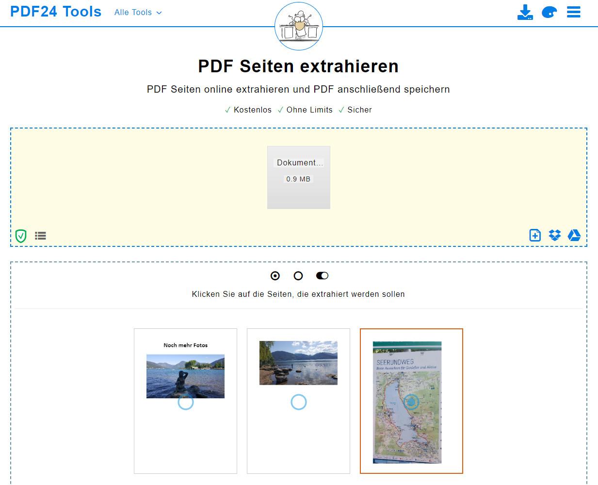 Screenshot 1 - PDF-Seiten extrahieren