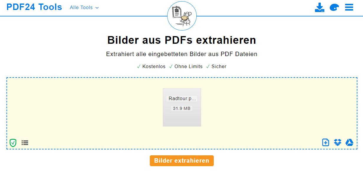 Screenshot 1 - Bilder aus PDF extrahieren