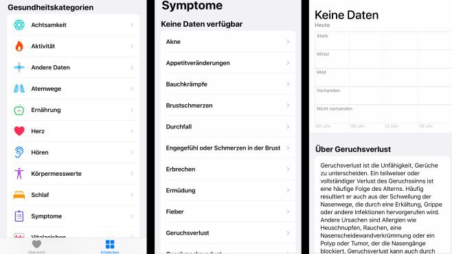 iOS 13.6: Health-Kategorie Symptome©COMPUTER BILD