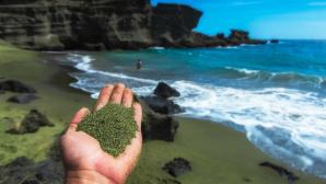 Grüner Sand in einer Hand©Project Vesta