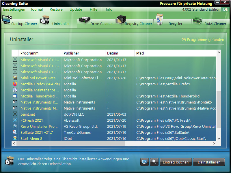 Screenshot 1 - Cleaning Suite