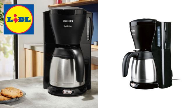 Kaffeemaschine mit Thermoskanne bei Lidl: Philips zum günstigen Preis Lidl-Angebot: Momentan ist die Philips Gaia HD7544/20 – eine Kaffeemaschine mit Thermoskanne – beim Discounter im Preis gesenkt.©Lidl, Philips