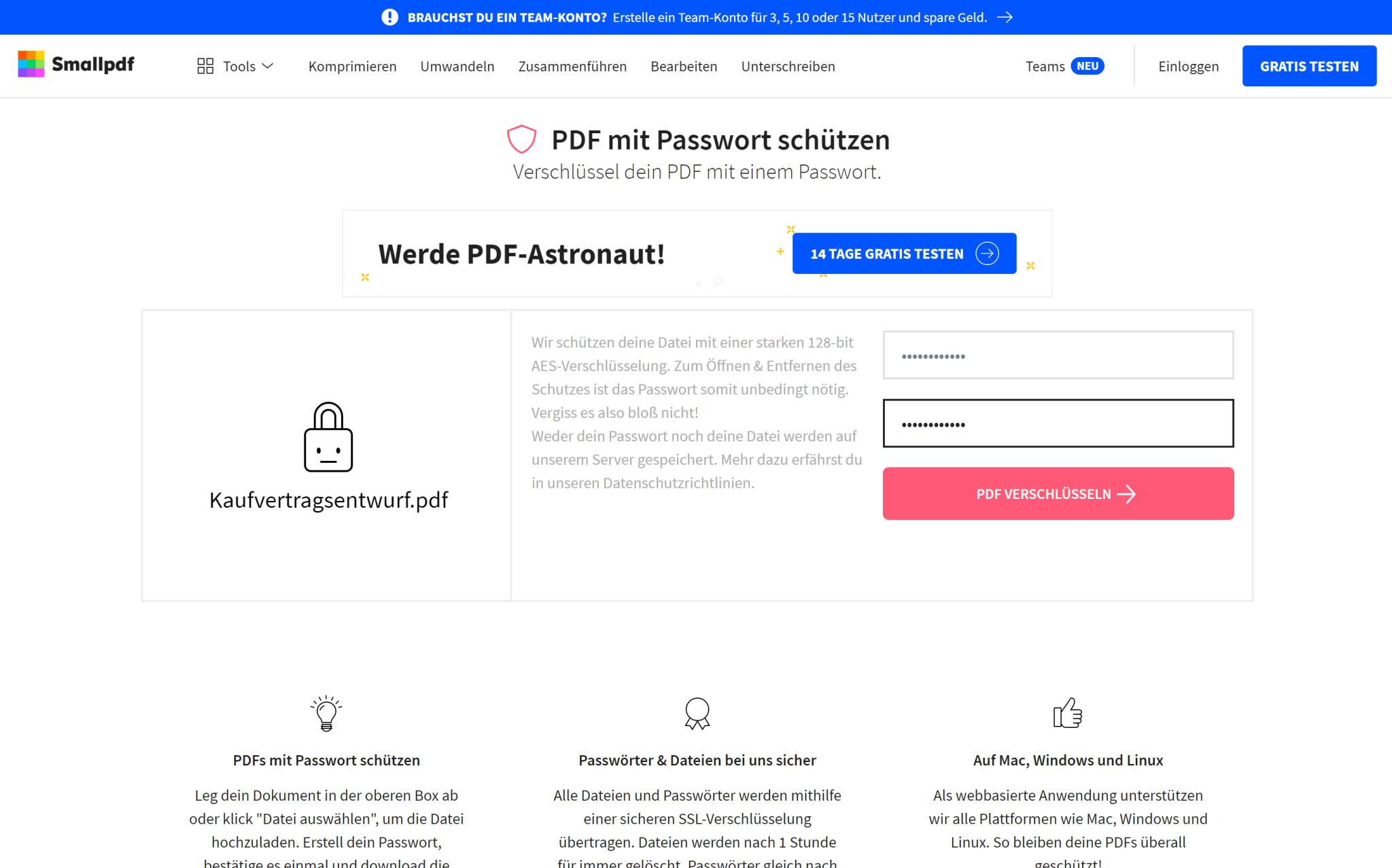 Screenshot 1 - PDF mit Passwort schützen