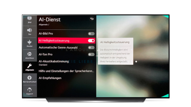 AI-Dienst im Menü des LG OLED CX©LG, COMPUTER BILD