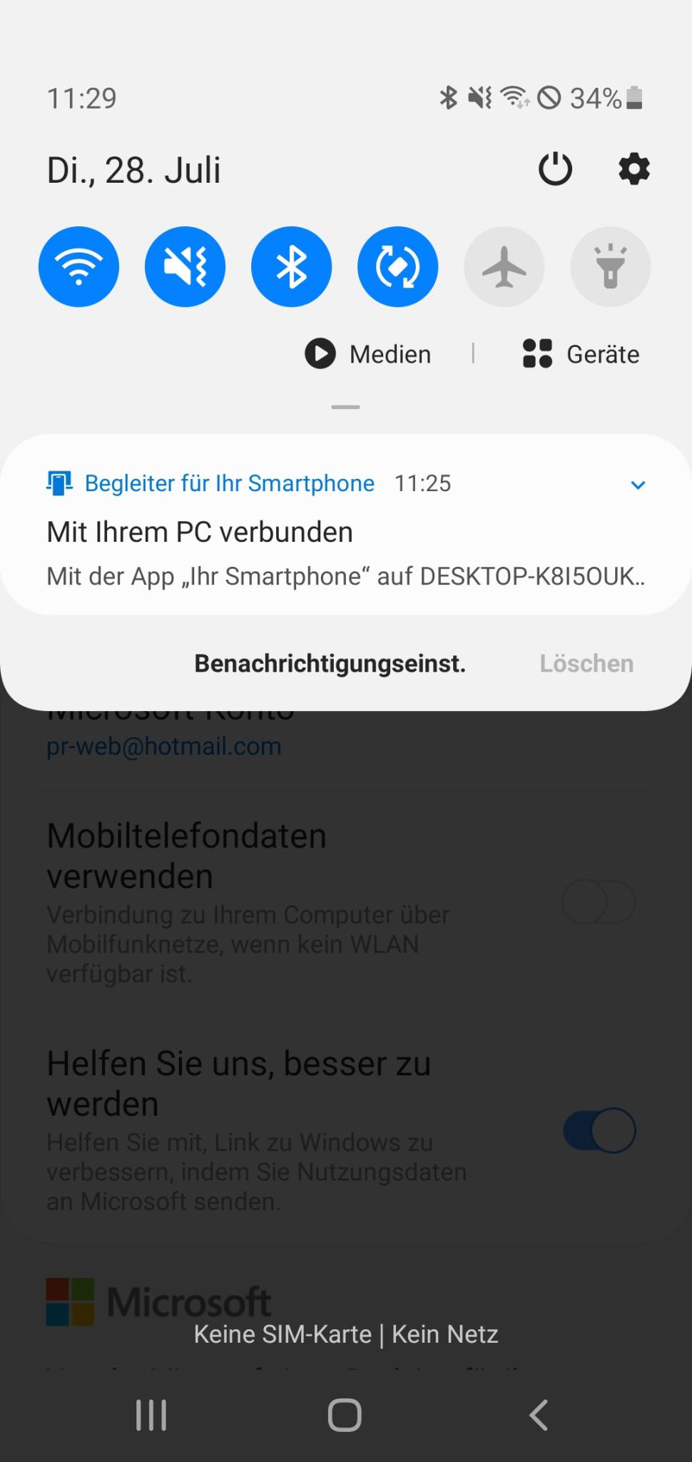 Screenshot 1 - Begleiter für Ihr Smartphone: Link zu Windows (Android-App)