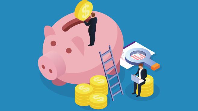 Illustration eines Sparschweins mit einer Person, die Geld einwirft©iStock.com/Laurence Dutton