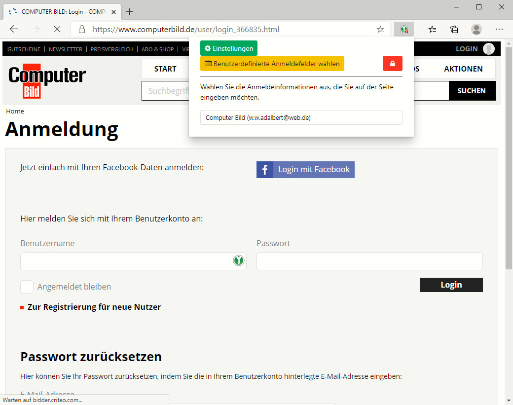 Screenshot 1 - KeePassXC-Browser für Microsoft Edge Chromium