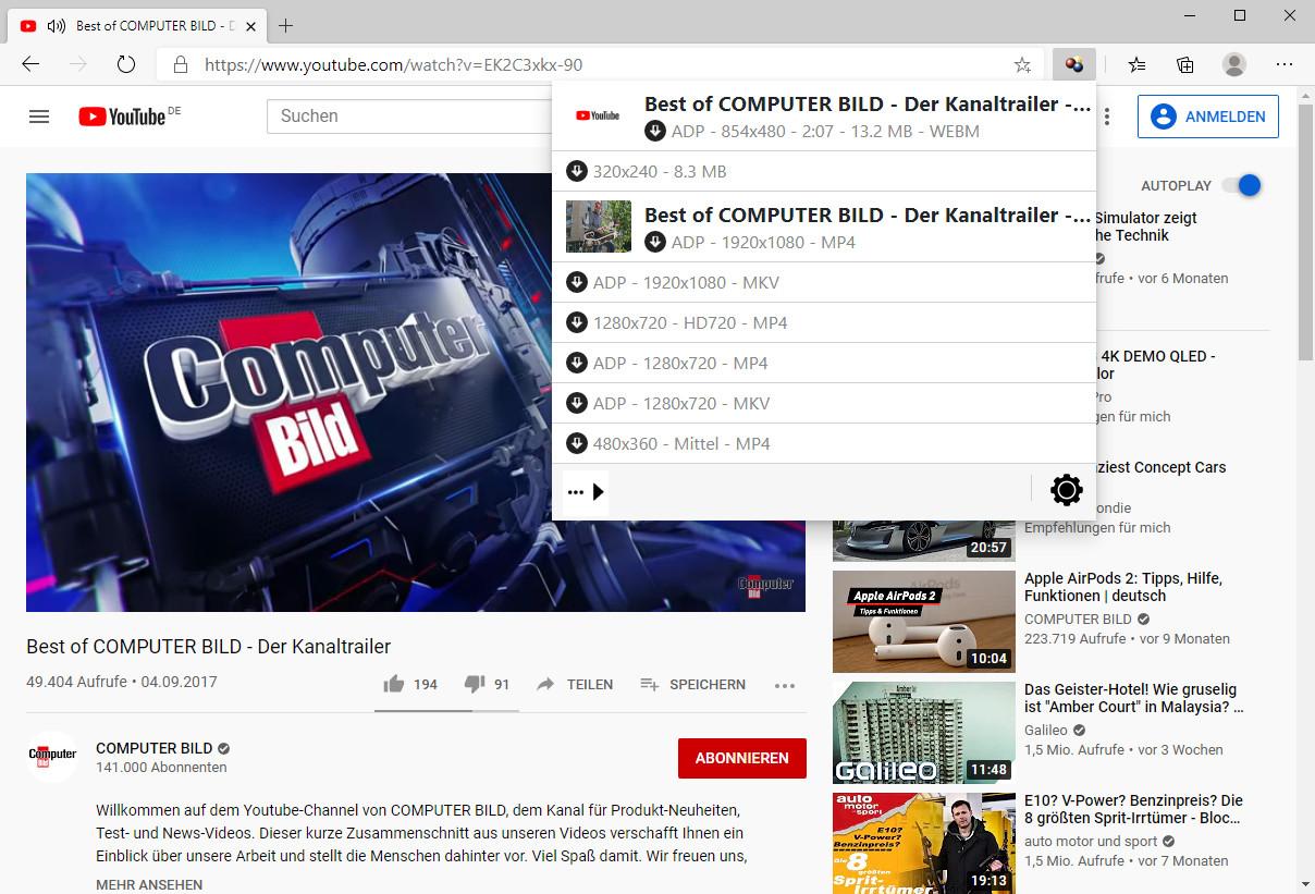 Screenshot 1 - Video DownloadHelper für Microsoft Edge Chromium