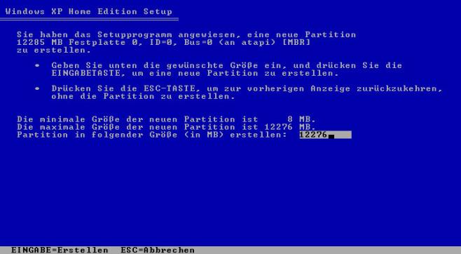 So installieren Sie Windows XP