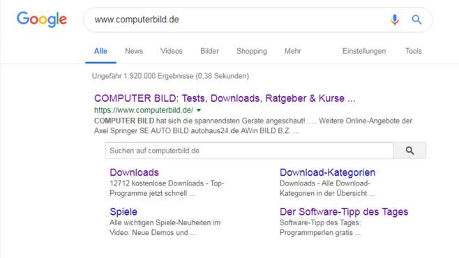 Webadresse googeln ©COMPUTER BILD
