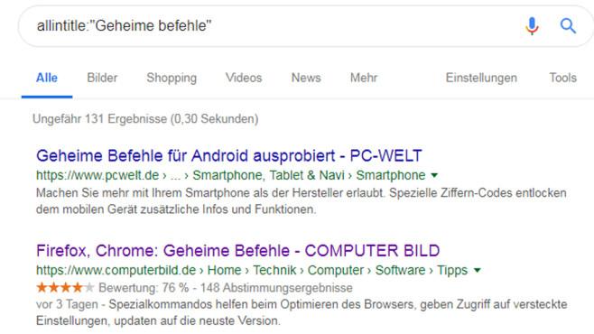 Webseiten mit Titeln suchen ©COMPUTER BILD