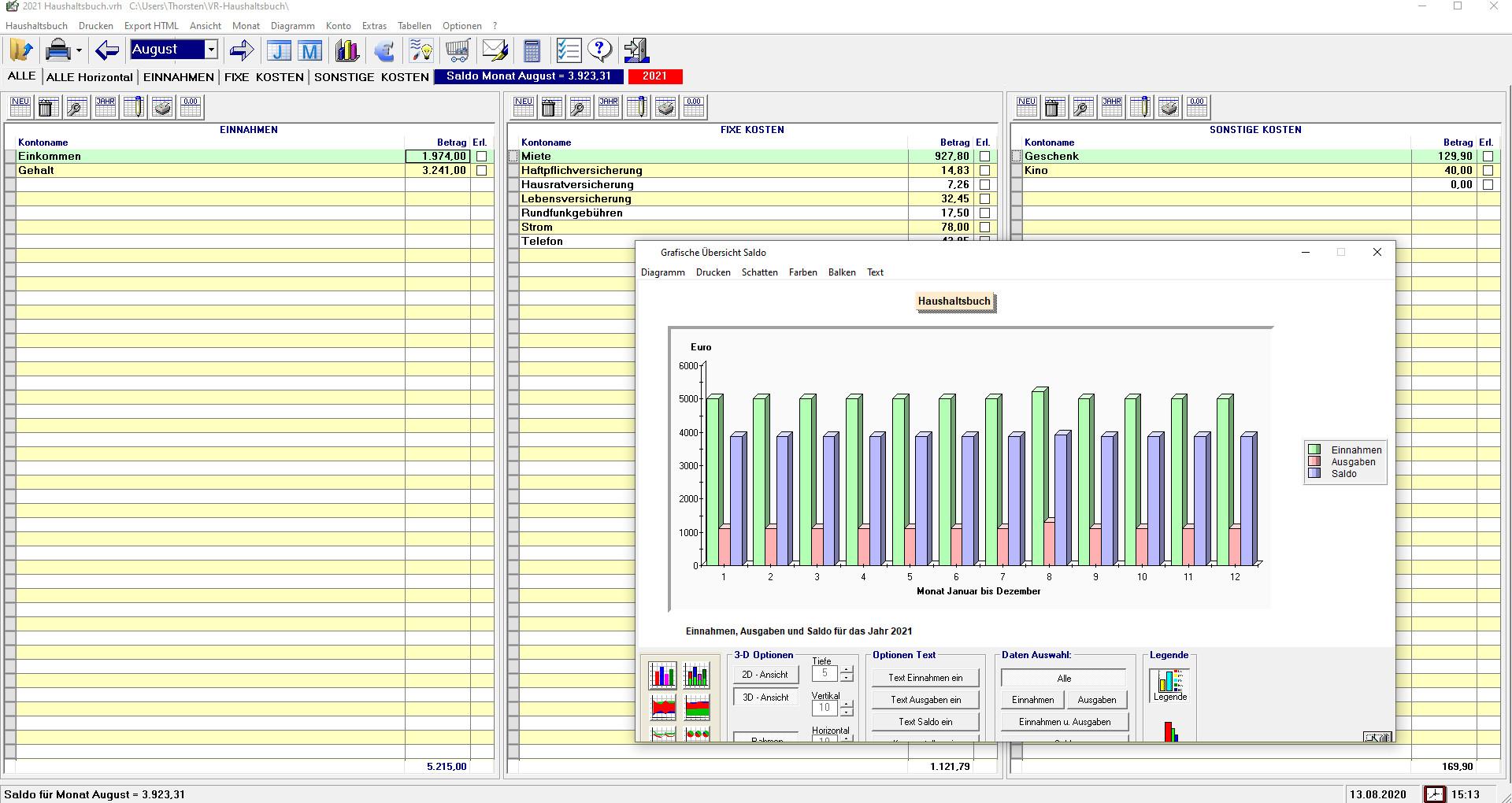 Screenshot 1 - Markt+Technik Haushaltsbuch – Kostenlose Vollversion