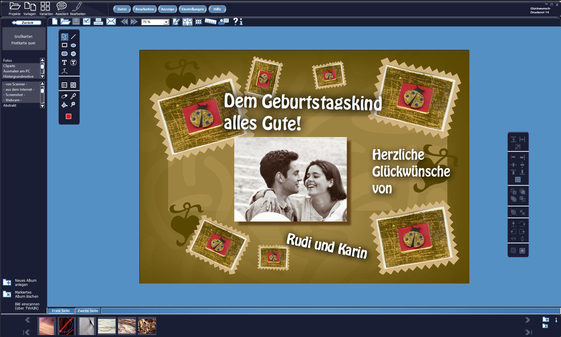 Screenshot 1 - Glückwunsch-Druckerei 14 (Gold-Edition) – Kostenlose Vollversion