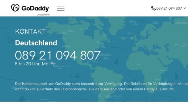 GoDaddy: Der Website-Baukasten im Praxistest Der Telefonsupport des Website-Baukastens von GoDaddy steht auch Gratisnutzern zur Verfügung.©Computer Bild