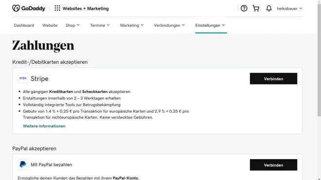 GoDaddy: Der Website-Baukasten im Praxistest Die Auswahl an Zahlungsdienstleistern ist beim Website-Baukasten von GoDaddy sehr eingeschränkt.©Computer Bild