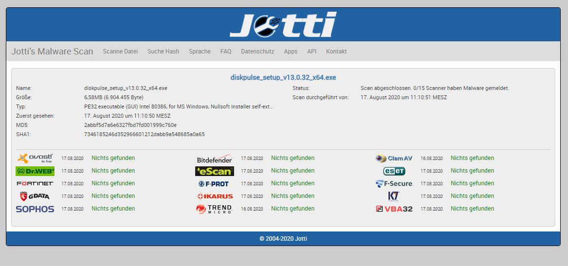Screenshot 1 - Jotti's Malware Scan