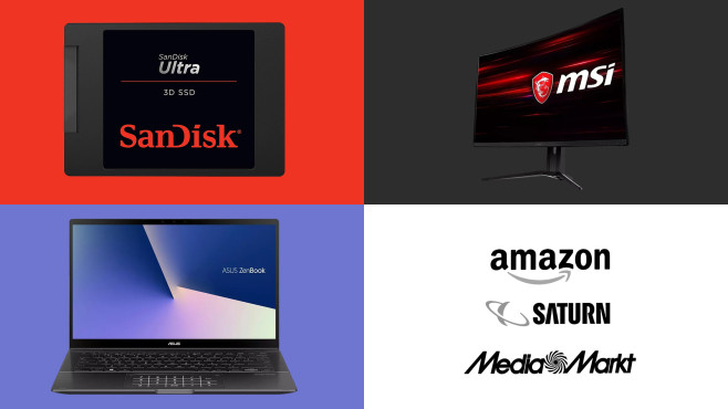 Amazon, Media Markt, Saturn: Die Top-Deals des Tages! © Amazon, Media Markt, Saturn, SanDisk, Asus, MSI