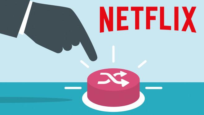 Netflix-Logo mit Shuffle-Button©Netflix, iStock.com/wenmei Zhou