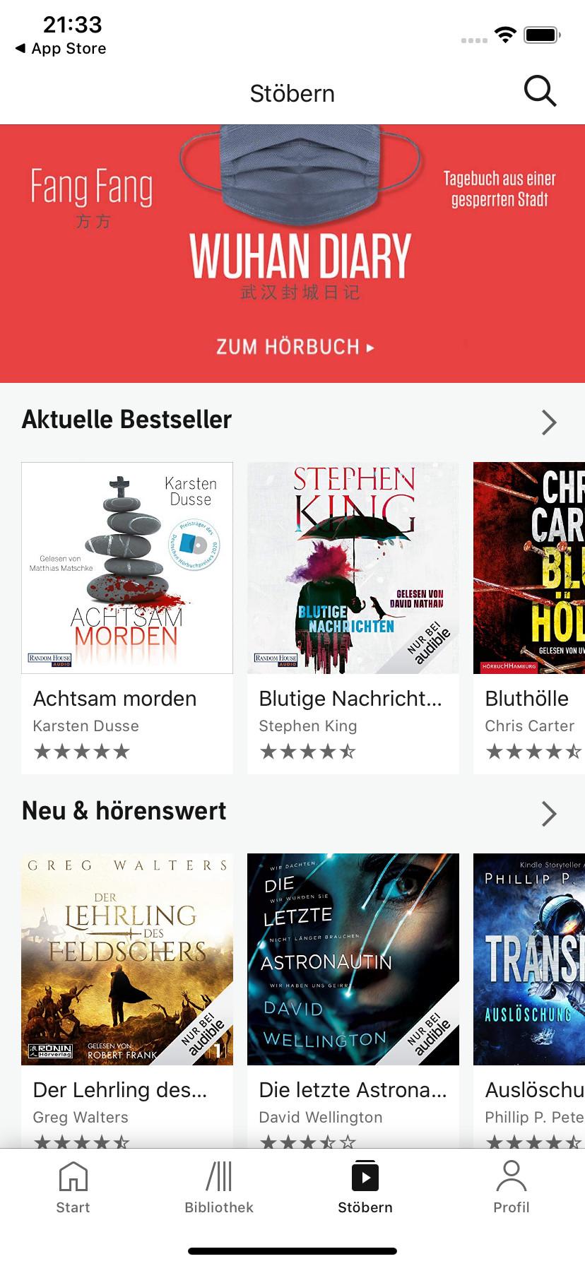 Screenshot 1 - Audible Hörbücher & Podcasts (App für iPhone & iPad)