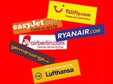 Klicks aus der Kostenfalle Sechs Fluglinien und ihre Schnäppchen im Test.©Tuifly, Air Berlin, German Wings, Luftansa, Ryanair, easyjet