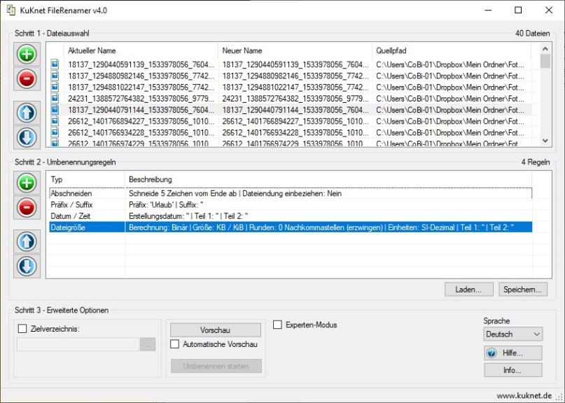 Screenshot 1 - KuKnet FileRenamer