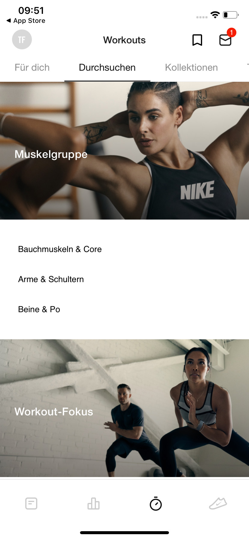 Screenshot 1 - Nike Training Club (App für iPhone & iPad)