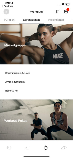 Nike Training Club (App für iPhone & iPad)